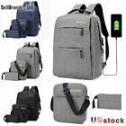 3PCS/Set Unisex Laptop Backpack Bookbag Travel School Bag With USB Charging Port