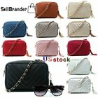 Women's Ladies Quilted Shoulder Gold Chain Faux Leather Cross Body Bag Handbag