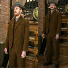 Vintage Brown Corduroy Men's Hunting Suits Retro Sports 3 Pieces Tuxedos Custom
