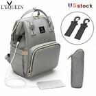 Внешний вид - LEQUEEN USB Interface  Mom Diaper Bag Backpack Large Capacity Baby Nursing Bag