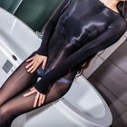 Plus Size Full Body stocking High Glossy Oil Shiny Bodysuit Stocking Tights open