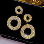 Women Lady Silver Rose Gold Crystal Round Hoop Earrings Jewellery Party Wedding