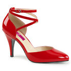 Pleaser Pink Label DREAM-408 Women's Sexy Red Patent Heels D'Orsay Pump Sandals