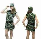 Womens Army Camouflage Girls Costume Ladies  Soldier Military Fancy Dress Outfit