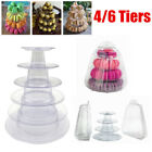 4/6 Tiers Round Clear Macaron Pyramid Stand Rack Weddings Macaroons Tower