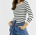 Womens Baggy Round Neck Ladies Oversized Contrast Horizental Stripe Knit Jumper