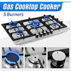 4/5 Burners Cooktop Built-in Gas Stove Hob LPG/NG Stainless Steel/Tempered Glass photo