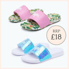Womens Slides in Flamingo Pink and Rainbow White Beach Casual Sliders Size 3-8