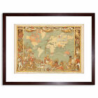 Map British Empire 1886 Illustrated People World Framed Art Print 9x7 Inch