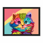 Cat+Illustration+Cute+Colourful+Framed+Wall+Art+Print+18X24+In