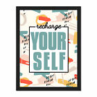 Funky+Affirmation+Recharge+Yourself+Framed+Wall+Art+Print+18X24+In