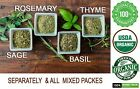 Rosemary,Thyme,Sage,Basil All DRIED spices Leaf Whole herb Organic Mix 100% PURE
