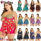 Women's Plus Size Tankini Swimdress Swimsuit Floral Rainbow Swim Skirt Swimwear