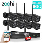 ZooHi 8CH Wireless 1080P Outdoor Home WIFI Camera Security System HDMI 8PCS 2TB