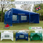 3x 3/4/6M PE Sides Marquee Gazebo Tent Garden Party Waterproof Canopy Shelter UK