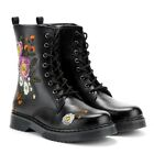 Rose Daisy Womens Combat Boots Ankle Long Leather Pattern