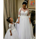3/4 Sleeves Wedding Dresses A-Line Lace White Ivory Bridal Gowns Custom 2-26W+
