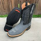 BOTA COLOR GRIS MEN'S RODEO COWBOY GRAY LEATHER WESTERN SQUARE TOE BOOTS 699