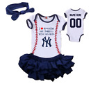 New York Yankees Girls Outfit Personalized Jersey Bodysuit Watching With Grandpa