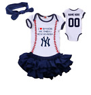 New York Yankees Girls Outfit Personalized Jersey Bodysuit Watching With Grandma