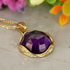 14K Yellow Gold Amethyst Vintage Necklace Birthstone Pendant Handmade Gift