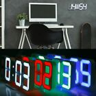3D Modern Design Digital LED USB Wall Clock Alarm 12/24H Display Home Decor
