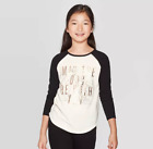 Girls' Star Wars Black Long Sleeve Princess Leia R2D2 Raglan T-Shirt NWT $10.39 USD on eBay