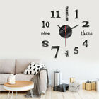 Modern DIY Large Wall Clock 3D Mirror Surface Sticker Art Design Home Decor US
