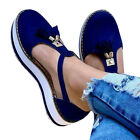Womens T-Bar Flat Sandals Ladies Summer Ankle Strap Casual Pumps Shoes Size 3-8