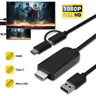 2 in 1 Micro USB Type C to HDMI HDTV Mirroring Cable Adapter For Samsung Android