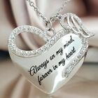 Always On My Mind Forever In My Heart Angel Wings Heart Pendent Necklace V1