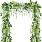 2x 7FT Artificial Wisteria Vine Garland Plants Foliage Flower Outdoor home decAT