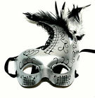 Mardi Gras Halloween Mask Womens Adult Size Silver Feathered Face Mask Tie Back