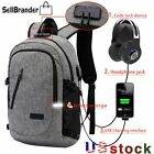 """Men Anti-theft 17""""Laptop Backpack Travel USB Charging Notebook Casual School Bag"""