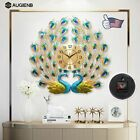 3D Large Wall Clock Luxury Peacock Metal Living Room Wall Watch Home Decora--USA