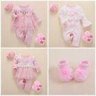 2pcs baby girls clothes princess jumpers socks headband party daily bodysuit