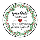 """30 1.5"""" CHRISTMAS WREATH THANK YOU ORDER ENVELOPE SEALS LABELS STICKERS"""