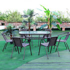 Table & Chairs Set Outdoor Garden Patio Brown Furniture Glass Table Parasol Base