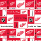 "NHL Detroit Red Wings Cotton Fabric by the 1/4,1/2,Yard, 44""W for Face Mask $9.79 USD on eBay"