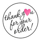 "30 1.5"" THANK YOU FOR YOUR ORDER HEART PINK FAVOR LABELS ROUND STICKERS"