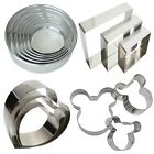3 Pcs Stainless Steel Heart, Square, Mickey Shape Cake Baking Moulds Frames Tin