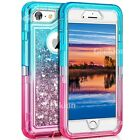 For iPhone 6 7 8 Plus Shockproof Protective Liquid Glitter Hybrid Case Cover