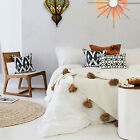 Moroccan Pom Pom Blanket Cotton Bed spread Bedthrow Small Meduim Large coverbed