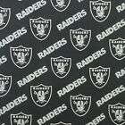 """NFL Las Vegas Raiders Black Cotton Fabric by the 1/4,1/2,Yard 58""""W for Face Mask"""