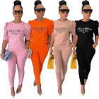 Fashion Women Crew Neck Long Sleeves Letter Print Bodycon Club Long Jumpsuit 2pc