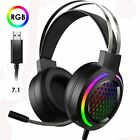 RGB Gaming Headset and Mic 7.1 Surround Sound for PC Xbox PS Gamer Headphones US