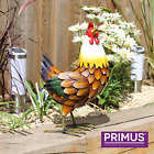 Large colourful hand made metal Farmyard Rooster& chicken-out /inside.By Primus