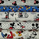 """DISNEY MICKEY MOUSE / CHARACTER Cotton Fabric by the 1/4 Yard for Face Mask 43""""W"""