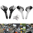 Black Motorcycle 3D Skull Hand Claw Rearview Side Mirror For Harley 8 mm&10mm