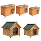 Insulated Wooden Dog Pet Kennel Outdoor House Shelter Removable Floor & Curtain